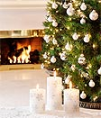 tree, candles and fireplace serenity